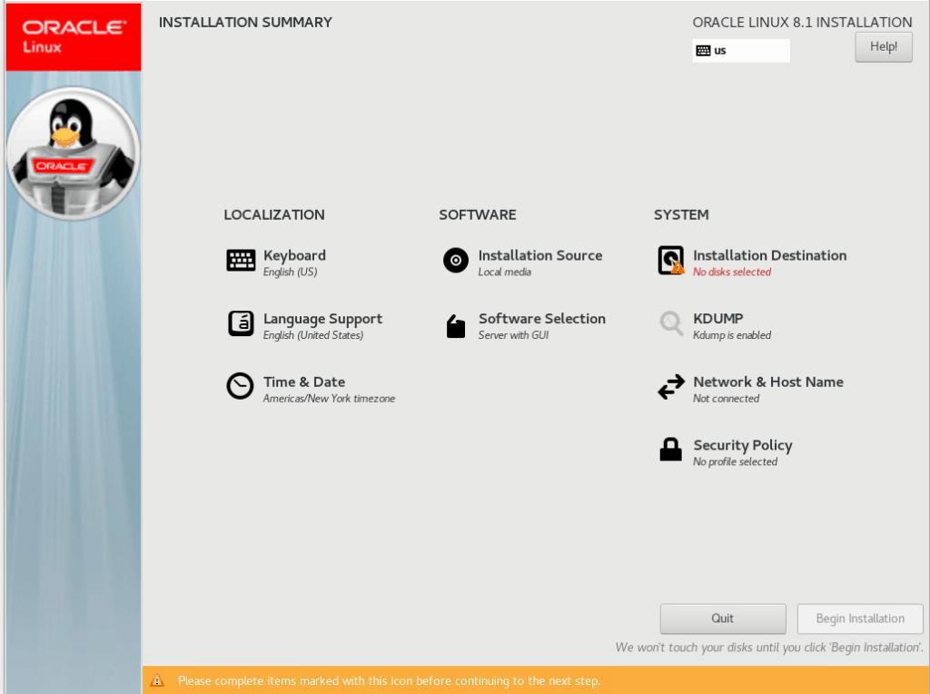 Konfigurationsmenü Oracle Linux 8.1
