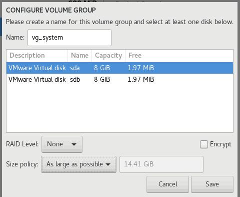 Configure Volume Group OEL 8.1
