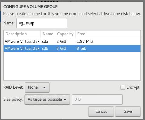 Configure Volume Group für OEL 8.1