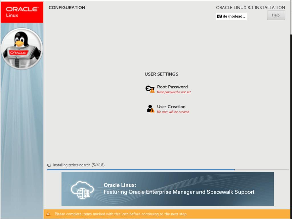 Root Password für Oracle Enterprise Linux 8.1