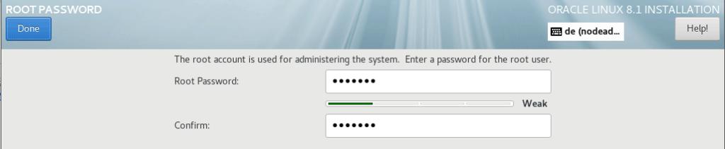Root Password für OEL 8.1
