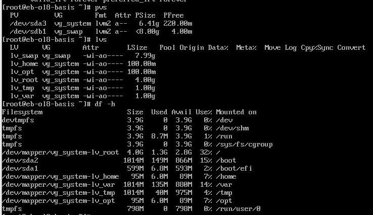 Dateisystem Oracle Enterprise Linux 8.1